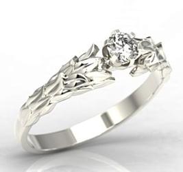 Pierścionek wieniec laurowy z białego złota z cyrkonią lp-91b-c - białe  cyrkonia