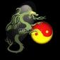 Obraz na płótnie canvas czteroczęściowy tetraptyk chiński smok z ying i yang