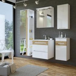 Szafka łazienkowa wysoka z lustrem mona biała