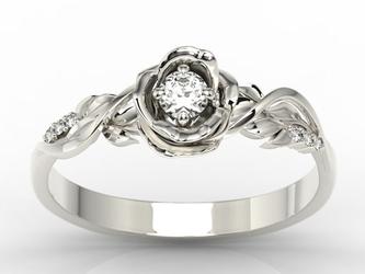 Pierścionek złoty w kształcie róży z białym szafirem i brylantami lp-7715b - białe  szafir white