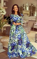 Suknia z długim rękawem w duże niebieskie kwiaty| zwiewne letnie kreacje linda