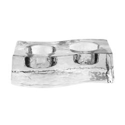 Świecznik szklany podwójny na świeczki tea light edwanex