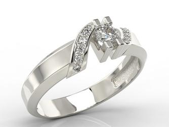 Pierścionek z białego złota z diamentami jp-66b - białe  diament