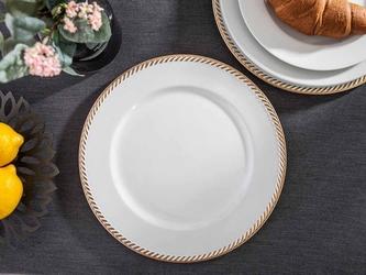 Podkładka pod talerz  na stół altom design biała ze złotym wykończeniem 33 cm