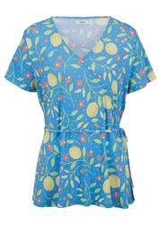 Shirt kopertowy przyjazny dla środowiska, tencel™ lyocell bonprix niebieski z nadrukiem