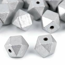 Koralik drewniany SREBRNY metaliczny 15x20mm - srebrny