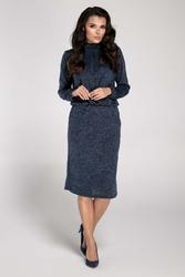 Granatowa sukienka mini z półgolfem