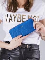 Skórzany portfel damski lakierowany niebieski rfid rovicky - niebieski