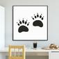 Wild footprint - plakat dla dzieci , wymiary - 30cm x 30cm, kolor ramki - biały