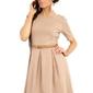 Cappuccino szeroka sukienka z rękawem do łokcia