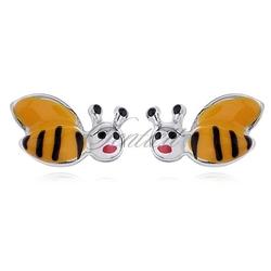 Srebrne kolczyki pr.925 emaliowane żółte pszczółki