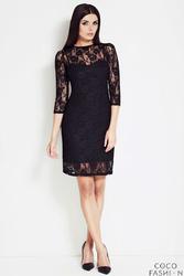 Czarna Subtelna Koronkowa Sukienka z Rękawem 34