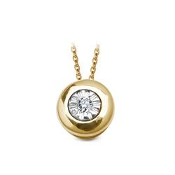 Staviori wisiorek. 1 diament, szlif brylantowy, masa 0,01 ct., barwa h, czystość i1. żółte, białe złoto 0,585. średnica 5 mm. grubość 4 mm. średnica ogniwa 2 mm.   łańcuszek widoczny na zdjęciach to model lbx5280