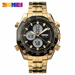 Zegarek męski SKMEI 1302 DUAL TIME gold - GOLD