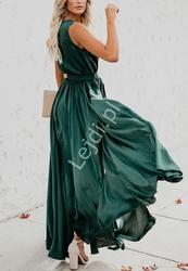 Klasyczna prosta długa sukienka butelkowo zielona