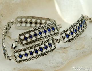 Hisar - srebrna bransoletka z szafirami