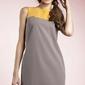 Kobieca dwubarwna prosta sukienka w kolorze mocca