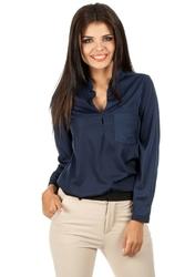 Granatowa koszulowa bluzka ze stójką