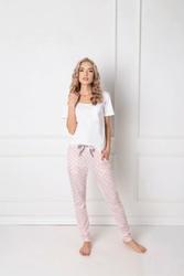Aruelle Q Long Biało-różowa piżama damska