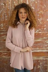 Damska koszula oversize z wydłużonym tyłem - różowa