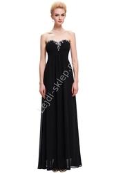 Szyfonowa skromna czarna suknia bez ramiączek, klasyczna z kryształkami