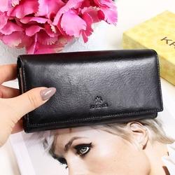 Skórzany portfel damski krenig classic 12091 czarny w pudełku - czarny