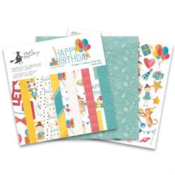 Papier do scrapbookingu Happy Birthday 15,3x15,3 cm - zestaw