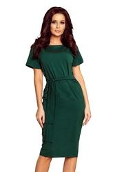 Zielona ołówkowa sukienka z wiązanym paskiem