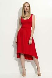 Czerwona Sukienka Z Wydłużonym Tyłem
