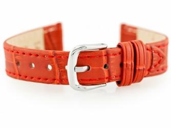 Pasek skórzany do zegarka W41 - czerwony - 16mm