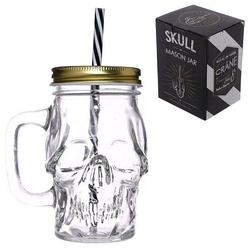 Czaszka - szklany słoik do napojów z uchwytem i rurką