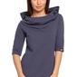 Damska bluza z krótkim rękawem i kapturem niebieska b026