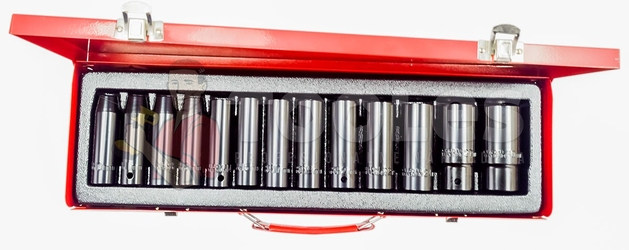 Klucze nasadowe udarowe 12 10-30mm nasadki długie crv silver