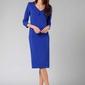 Kobaltowa elegancka dopasowana sukienka z kołnierzem