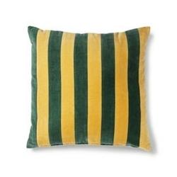 Hk living :: poduszka velvet w paski zielonymusztardowy 50x50