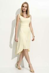 Żółta Sukienka Z Wydłużonym Tyłem