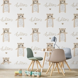 Tapeta dla dzieci - hello bears , rodzaj - tapeta flizelinowa laminowana