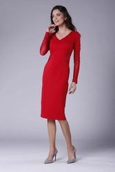 Czerwona elegancka ołówkowa sukienka z prześwitującymi detalami