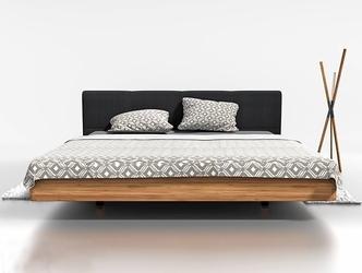 Drewniane łóżko do sypialni davis z tapicerowanym zagłówkiem