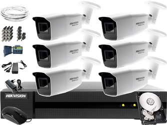 Zestaw do telewizji przemysłowej firmy, biura, parkingu hikvision hiwatch hwd-6108mh-g2, 6 x hwt-b320-vf, 1tb, akcesoria