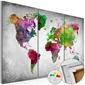 Obraz na korku - różnorodność świata mapa korkowa
