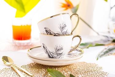 Filiżanki do kawy i herbaty porcelanowe ze spodkami altom design paradise tropical, zestaw 2 filiżanek