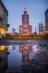 Warszawa w kałuży - plakat premium wymiar do wyboru: 42x59,4 cm