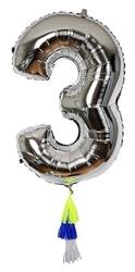 Meri meri balon cyfra 3 srebrny
