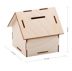 Drewniana skarbonka w kształcie domku prezent z grawerem