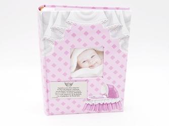 Album różowy mały wózek 9 x 13 prezent na chrzest dedykacja