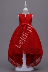Koronkowa sukienka dziecięca z trenem w kolorze wina 139