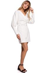 Sukienka koktajlowa mini z bufiastymi rękawami i paskiem ecru m501
