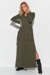 Khaki maxi sukienka z kieszeniami