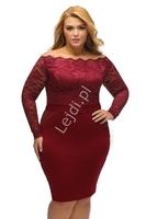 Koronkowo dzianinowa sukienka w kolorze ciemnego wina, plus size z dekoltem typu carmen  901